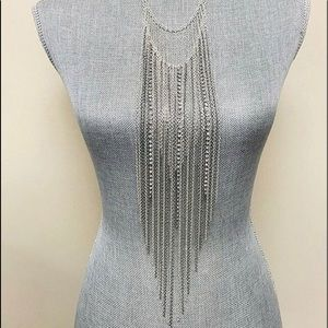 Ombré Long Fringe Necklace Necklace,NWT